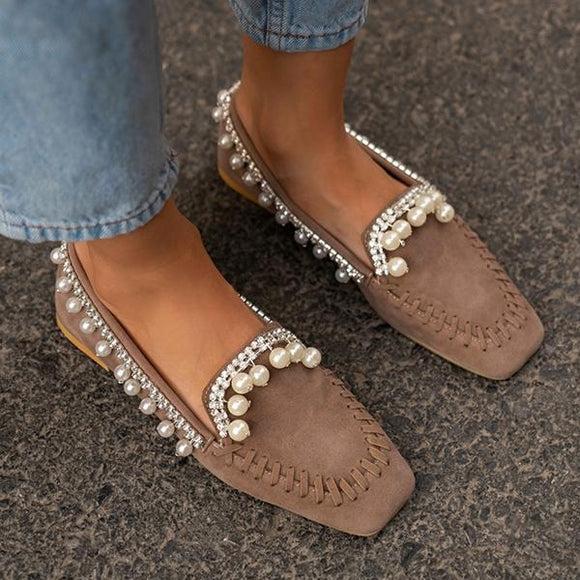 Mokoshoes Cute Bottom Pearl Suede Loafers