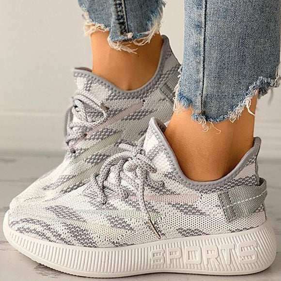 Mokoshoes Knitted Mesh Breathable Platform Sneakers