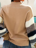 Mokoshoes Color Block Thick Knit Crew Neck Casual Sweater