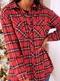 Mokoshoes Plaid Pattern Oversized Shirt