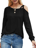 Mokoshoes Women Long Sleeve Off The Shoulder T-Shirt