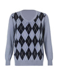 Mokoshoes Fashion Diamond Plaid Loose Wild Sweater
