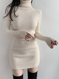 Mokoshoes High Neck Slim Temperament Solid Base Knit Dress