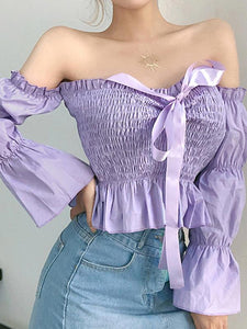 Mokoshoes French Style Purple Balloon Sleeves Off Shoulder Shirts