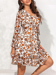 Mokoshoes Long-Sleeved Waist Dress Puff Sleeve Ruffled Floral Dress
