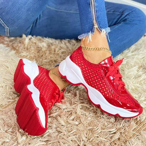 Mokoshoes Fashion Solid Mesh Stitching Sneakers
