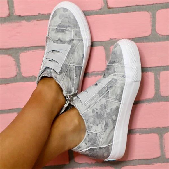 Mokoshoes Comfortable Elastic Zipper Casual Sneakers