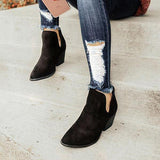 Mikastylish  Cut Out Booties Ankle Heels Boots