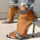 Mokoshoes Metal Decoration Chain Buckled Open Toe Thin Heels