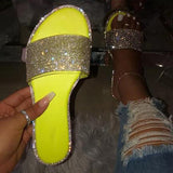 Mokoshoes Rhinestones Candy-colored Sole Stripes Sexy Party Slippers