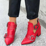 Mokoshoes European PU Solid Block Heels
