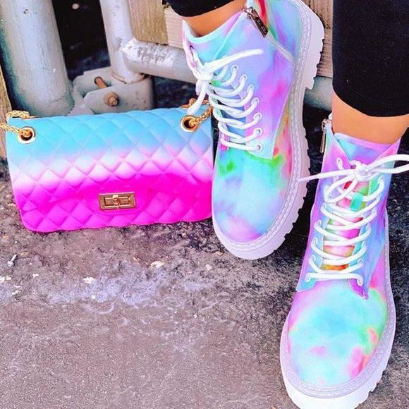 Mokoshoes Multicolor Rainbow Tie-Dye Sneakers