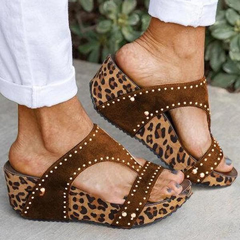 Mikastylish  Women Rhinestone Animal Print Wedge Heel Sandals