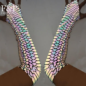 Holographic Rainbow Reflective Fingerless Gloves - Rainbow or Snake Print