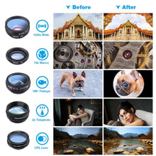 Load image into Gallery viewer, 10in1 Phone Camera Mobile Lens Kit (Fisheye Wide Angle Telescope Macro)