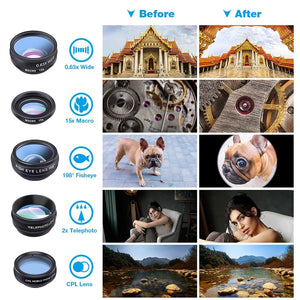 10in1 Phone Camera Mobile Lens Kit (Fisheye Wide Angle Telescope Macro)