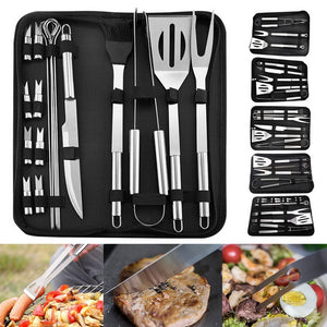 18 Pcs Tailgating Stainless Steel BBQ Tools Set for Barbecue Grilling