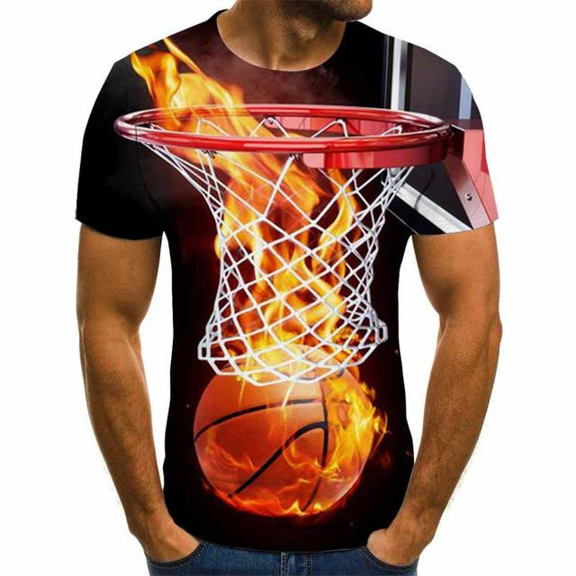 3D Flame Basketball T-Shirt