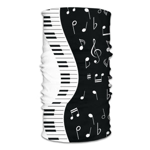 Music Notes And Piano Keys Magic Scarf Half Face Mask Neck Gaiter
