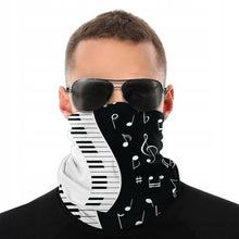 Load image into Gallery viewer, Music Notes And Piano Keys Magic Scarf Half Face Mask Neck Gaiter
