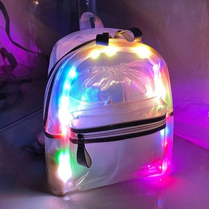LED Jelly Waterproof Transparent Backpack