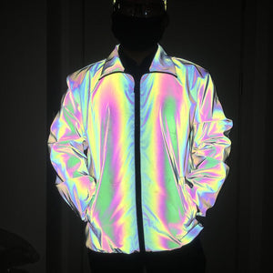 Reflective Holographic Cargo Jacket Windbreaker