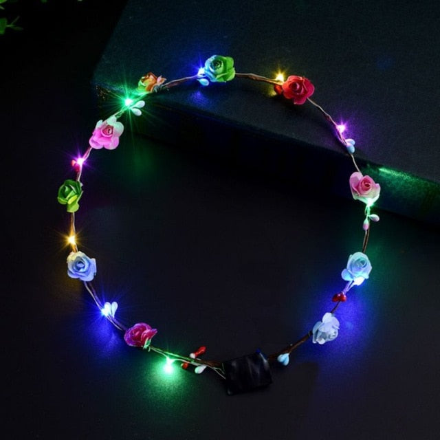 LED Glowing Flower Garland Headband