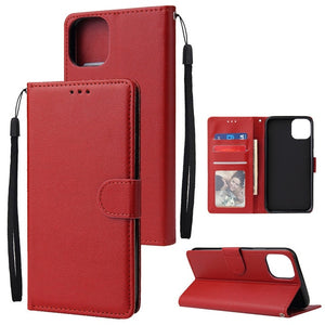 All-In-One PU Leather Flip Wallet Phone Case with Card Slots For iPhones