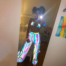 Load image into Gallery viewer, Women Sleeveless Rainbow Holographic Reflective Star Festival Bra Lace-up Tank