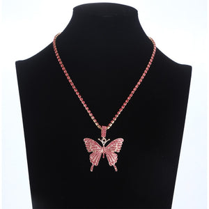 Pink Butterfly Necklace Chain