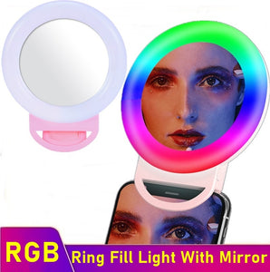 RGB Dimmable LED Mobile Ring Fill Light With Mirror