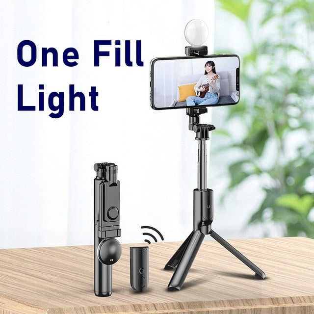 Portable Bluetooth Phone Selfie Stick With Ring Fill Light