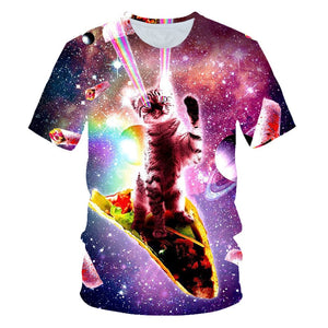 3D Galactic Party Kitty and Taco T-Shirts