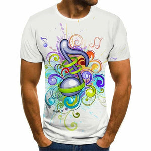 3D Colorful Music Lover T-Shirt