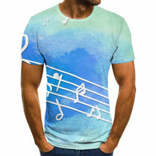 Load image into Gallery viewer, 3D Music Notes Blue All Over T-Shirt