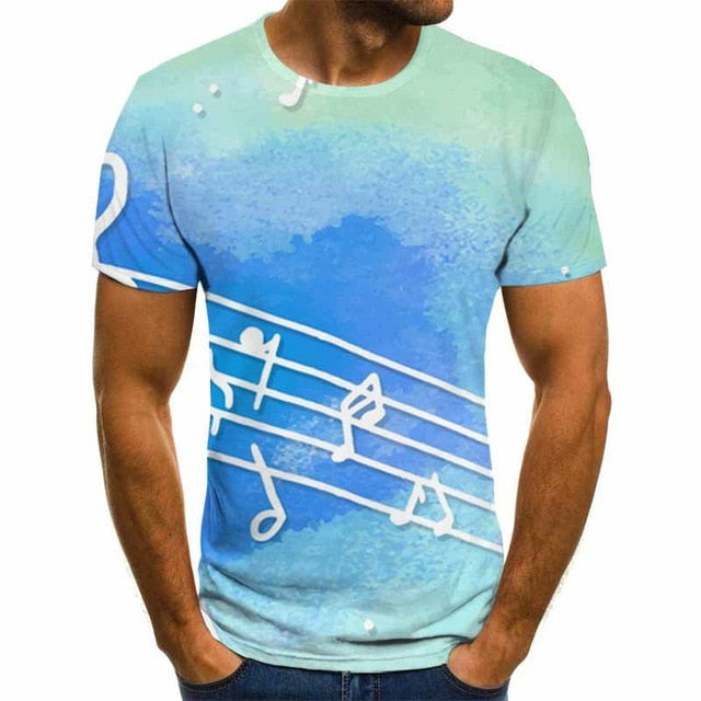 3D Music Notes Blue All Over T-Shirt