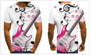 3D Guitar and Music Notes T-Shirt