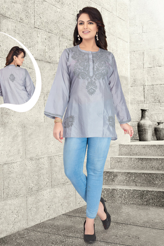 Lucknowi Grey Short Kurti