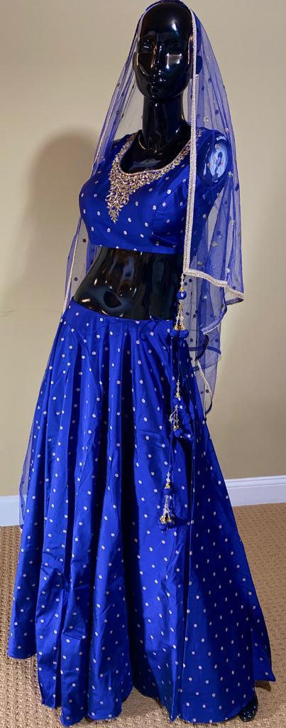 Navy Blue Lehnga With Booti Work