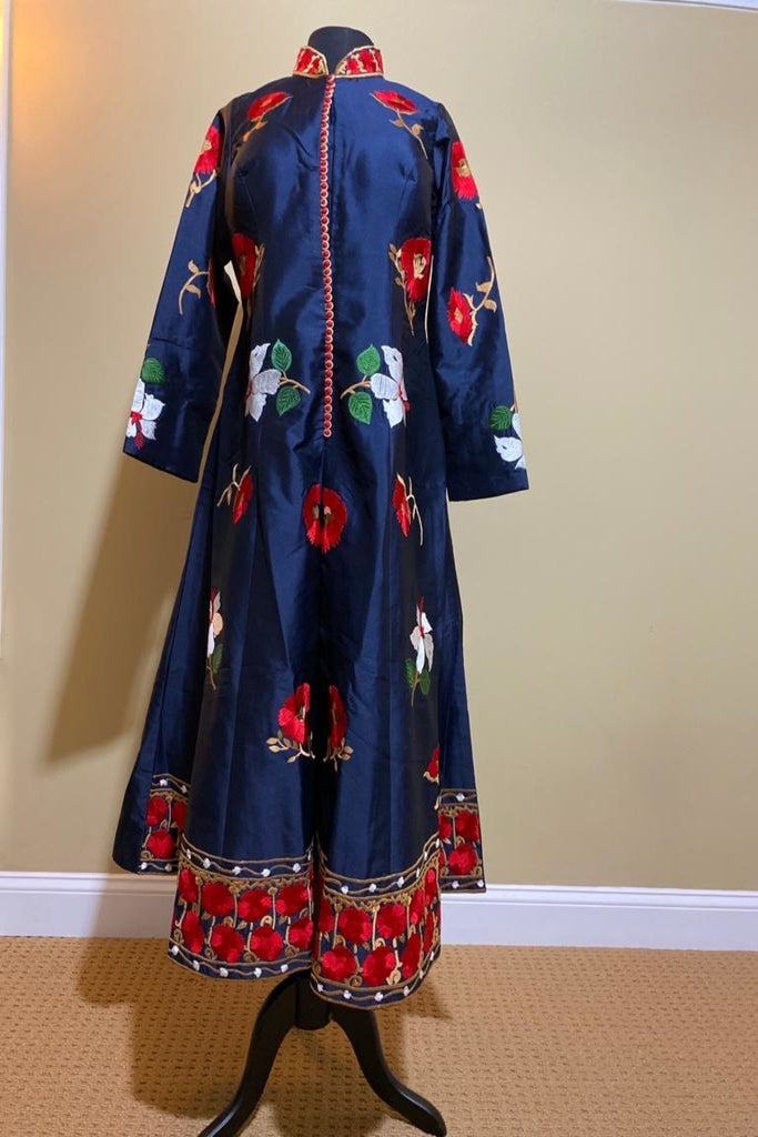 Exquisite Silk Anarkali With Floral Motifs