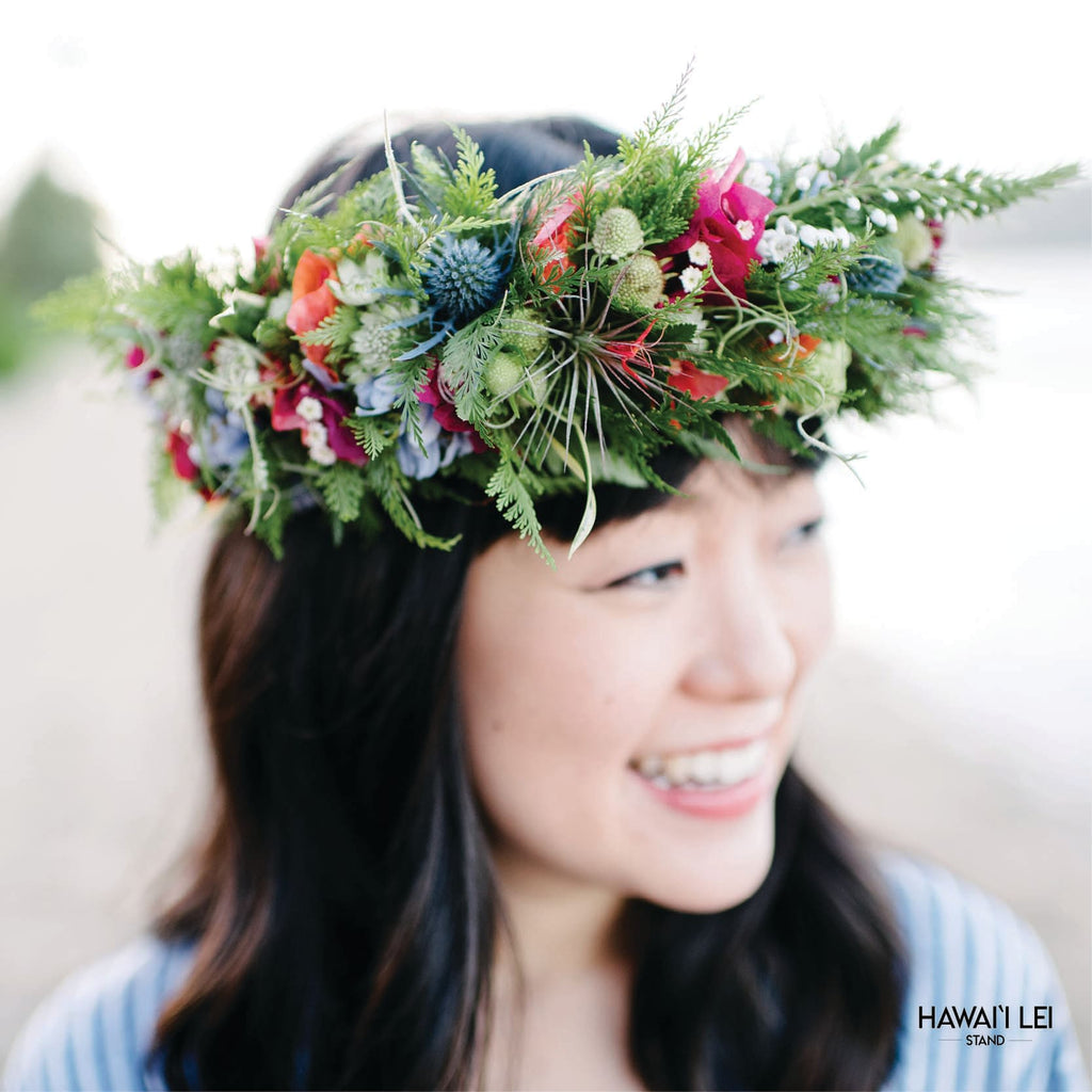 Garden Flower Haku (Colors Vary) Lei Shipping And Delivery From Honolulu Hawaii