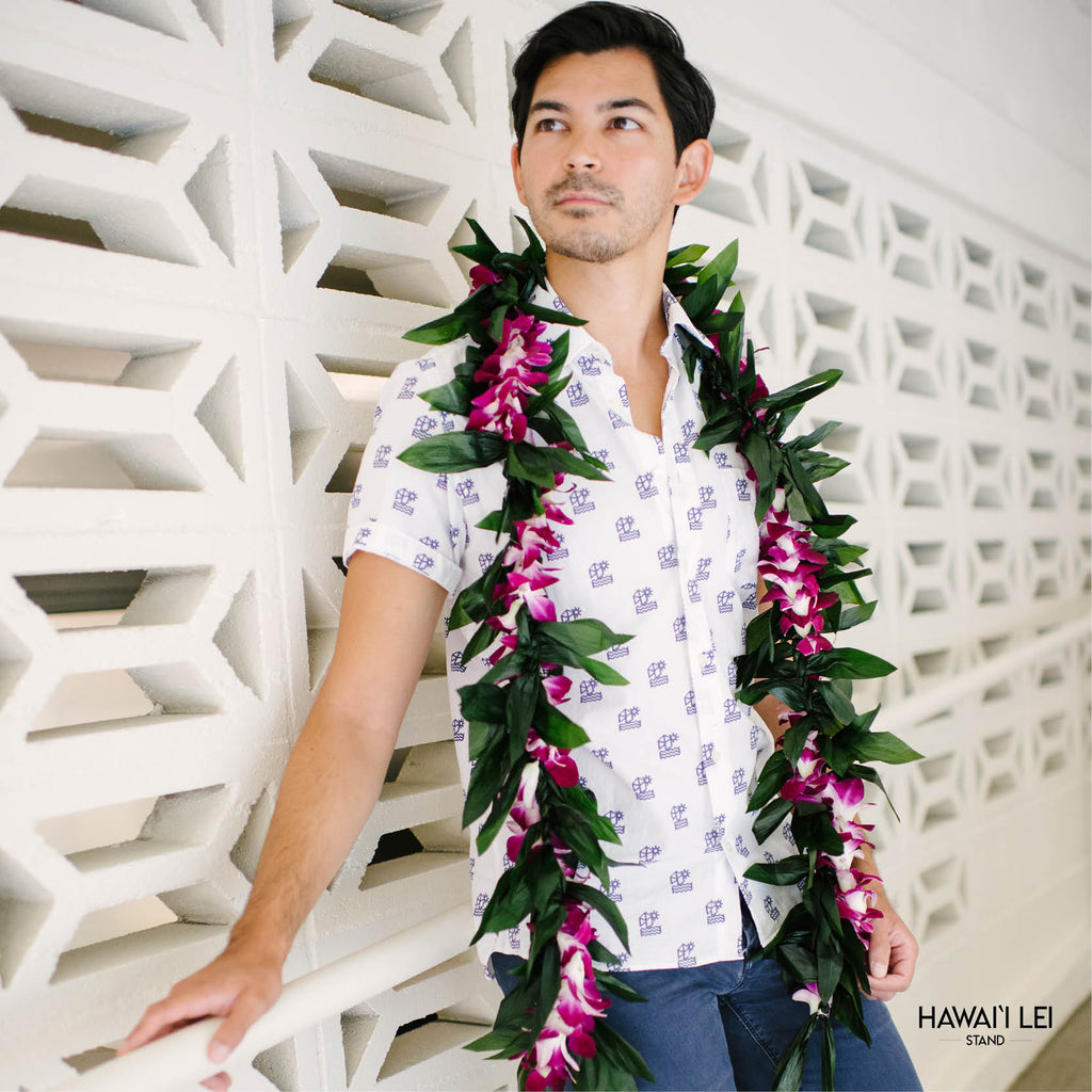 Double Ti Leaf Maile Wrapped With Orchid Lei (Purple) Lei Shipping And Delivery From Honolulu Hawaii