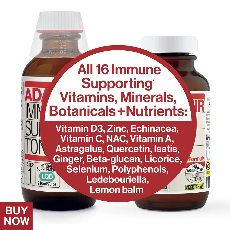 All 16 immune supporting vitamins minerals botanicals and nutrients: Echinacea, astragalus, Isatis, ginger, licorice, ledebouriella. Vitamin D3, Zinc, Vitamin C, N.A.C, Quercetin, Vit.A, Selenium, Beta-Glucan, Polyphenols, Lemon Balm. Buy now