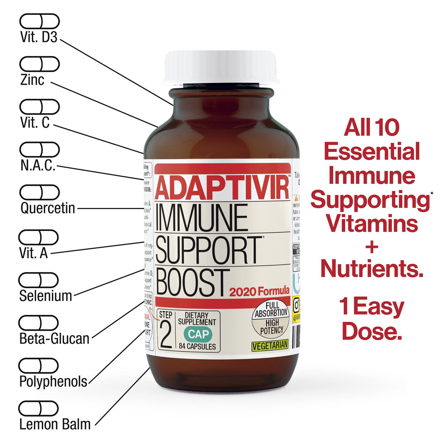 Supplement Capsules. 84 capsules. Full absorption, high potency, vegetarian. Step 2 of a 2 step immune support program.  All 10 essential immune supporting vitamins and nutrients. 1 easy dose. Vitamin D3, Zinc, Vitamin C, N.A.C, Quercetin, Vit.A, Selenium, Beta-Glucan, Polyphenols, Lemon Balm *These statements have not been evaluated by the FDA. This product is not intended to diagnose, treat, cure or prevent any disease © UrbanHealing 2020.