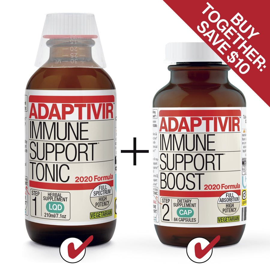 ADAPTAVIR IMMUNE SUPPORT*, 2020 FORMULA. COMPLETE. BOTH TONIC AND BOOST AT LOW PRICE. PROVIDING OPTIMAL IMMUNE SUPPORT* PROMOTING HEALTHY INFLAMMATORY RESPONSE* UNIQUE BLENDS. ULTRA FAST-ACTING. EASILY ABSORBED SUPER CONCENTRATED. HUGE POTENCY ANTIOXIDANT SUPPORT. TONIC: EUROPEAN BOTANICAL QUALITY BOOST: COMBINES 10 SUPPLEMENTS INTO 1 BOTTLE *These statements have not been evaluated by the FDA. This product is not intended to diagnose, treat, cure or prevent any disease © UrbanHealing 2020.