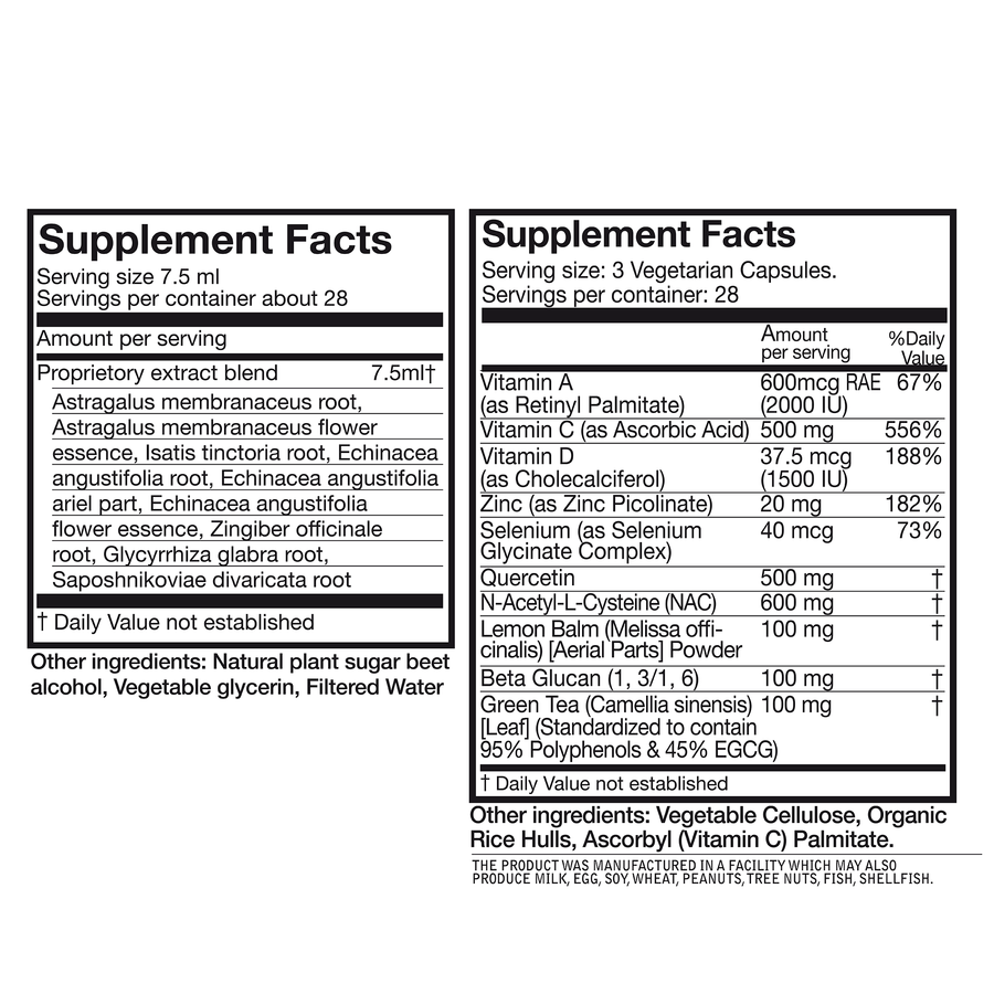Supplement facts for Adaptavir Immune support complete. Supplement facts available on Adaptivir Immune support Boost and Adaptavir immunie support tonic product detail pages.