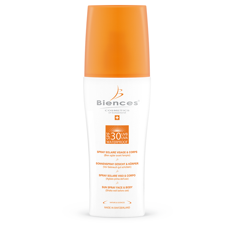 Water-resistant face and body sunscreen spray SPF30 UVA + UVB