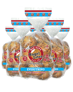 48 Bagel Lites Fresh NYC Mini Bagel Balls- EVERYTHING (6 PACK)