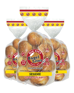 24 Bagel Lites Fresh NYC Mini Bagel Balls- SESAME (3 PACK)