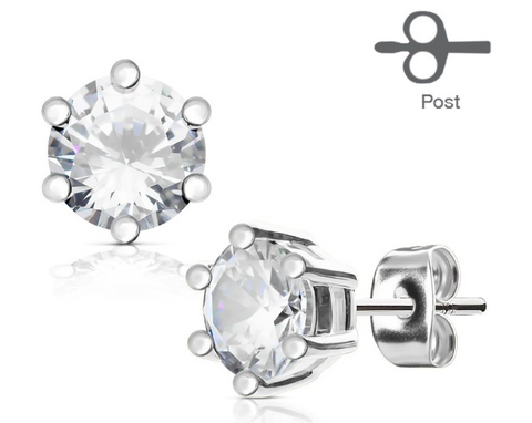 Prong Set Jeweled Stud Earrings — Price Per 2 - Starter Jewelry